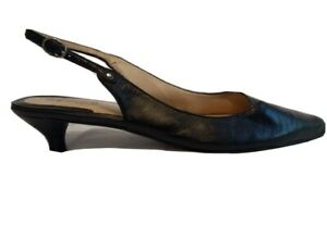 Supersoft-by-Diana-Ferrari-Womens-Black-Kitten-Pointed-Toe-Sling-Back-Size-10