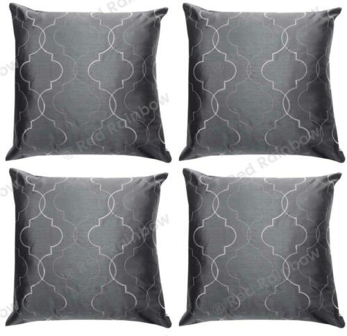 """Set of 4 Geometric Faux Silk Embroidered Cushion Covers 18/"""" or Large 22/"""" SALE"""