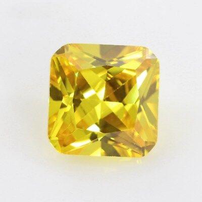 Zafiro Amarillo Oro 3.24CT 8x8MM Amortiguador Corte AAAAA Vvs Piedra Suelta