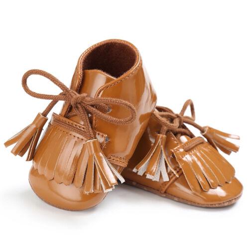 Baby Newborn Tassel Soft Leather Crib Shoes Moccasin Boys Girl Toddler Prewalker