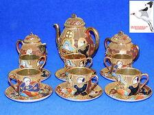 Japonés Satsuma Juego De Té Samurai China Oro forrada cáscara De Huevo De Porcelana Oriental