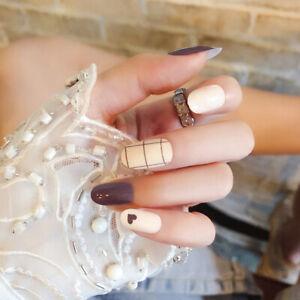 24pcs-Lattice-Round-False-Nails-Art-Acrylic-French-Full-Cover-Tips-Manicure-Glue