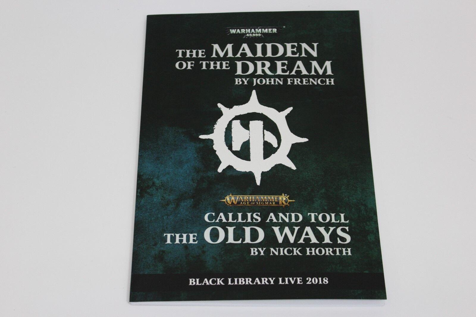 Warhammer 40k Negro aos aos aos Biblioteca en vivo Chapbook 2018 Maiden el sueño Firmado  gran venta