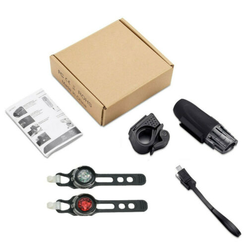 USB Rechargeable Bright LED Bicycle Bike Front Headlight and Rear Tail Light Set