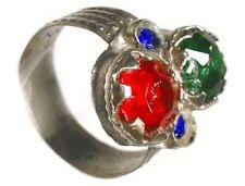 18thC Byzantine Silver Ring Ruby Red Emerald Green Sapphire Blue Glass Gems Sz10