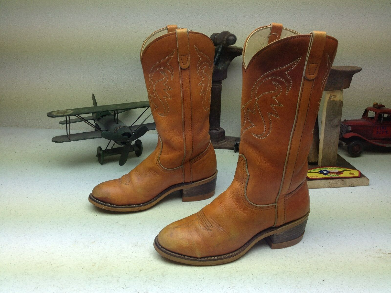 RUST BROWN DISTRESSED STEEL TOE MADE IN USA WESTERN WORK ENGINEER BOOTS 6 M
