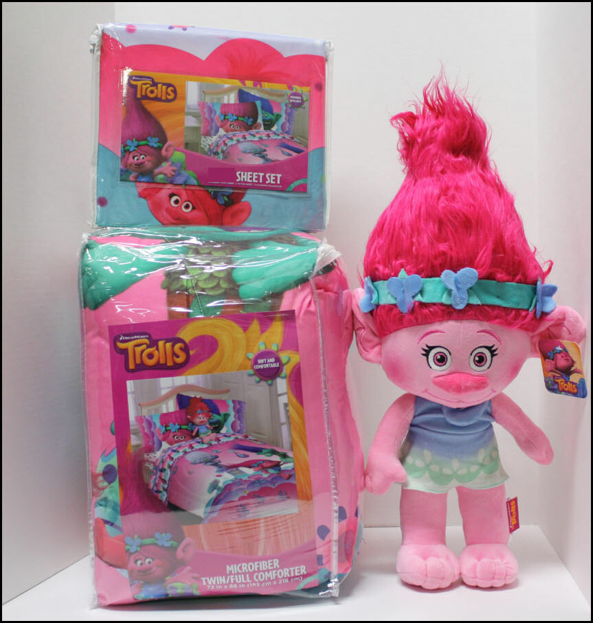4 6 PC-Trolls Réversible Couette + Drap + Poppy plush doll-Complet ou Twin