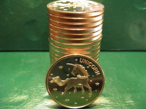 20 Unicorn 1oz .999 Beautiful Copper Rounds 1 Roll Plastic Tube