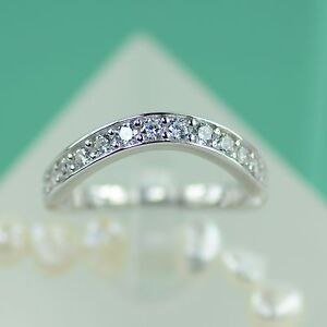 Image Is Loading 925 Sterling Silver Curved Wedding Band Aaa Cubic