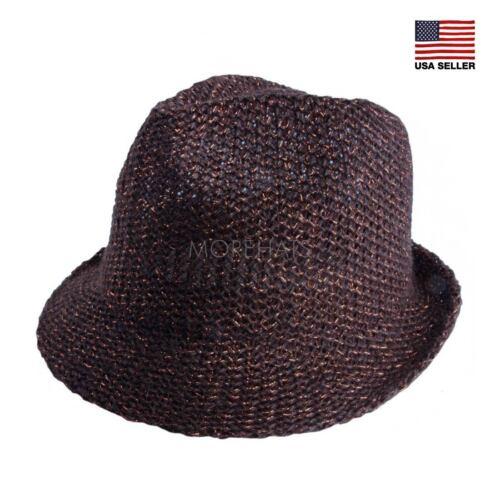 Metallic Linen Straw Panama Fedora Trilby Cap Beach Sun Hat Womens Mens Summer