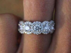 5 Ct Round-Cut D//VVS1 Diamond Eternity Wedding Band Ring 14K White Gold Finish