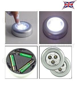 SUPER BRIGHT Stick On LED Push Lights Self Adhesive Battery ...:Image is loading SUPER-BRIGHT-Stick-On-LED-Push-Lights-Self-,Lighting