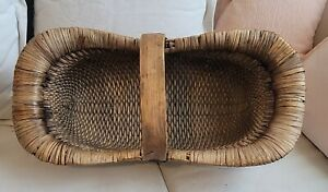 Antique Chinese Basket Hand Woven Willow with Elmwood Handle 26 Inches Long