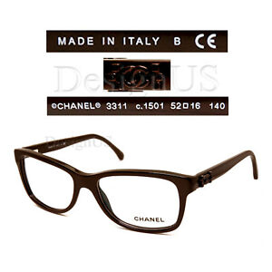 42d7145835 Chanel 3311 c.1501 Dark Brown 52 16 140 Eyeglasses Rx Made in Italy ...