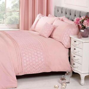 Everdean Blumenmuster Rouge Pink Bettbezug & Kissenbezug Set Elegant - Einzel