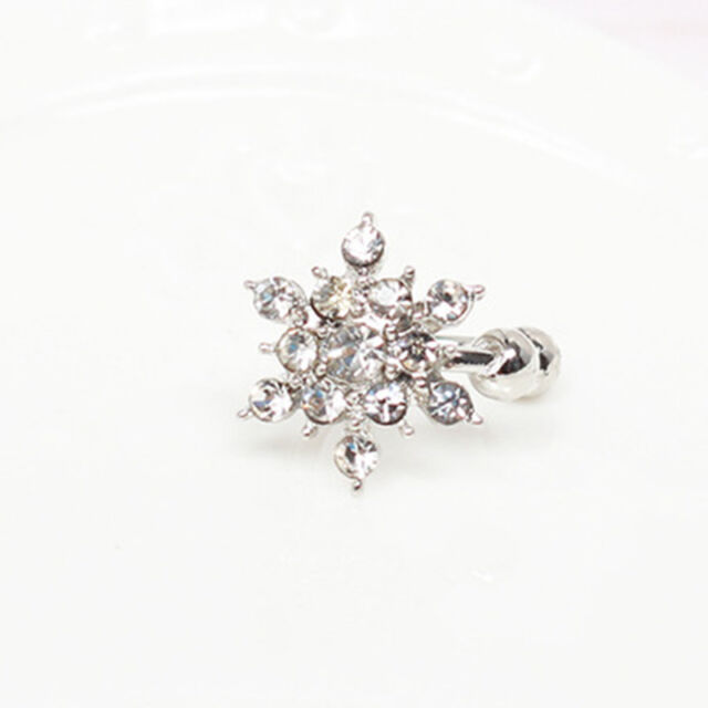 Fashion Girls Women Snowflake Crystal Rhinestone Ear Stud Clip Earrings Newly