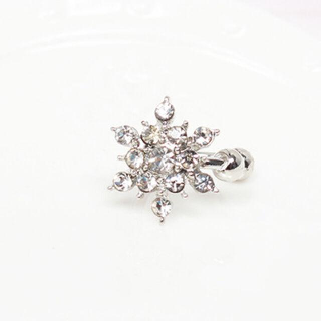 Fashion Girls Women Snowflake Crystal Rhinestone Ear Stud Clip Earrings Newly