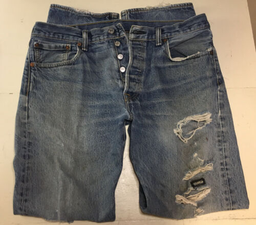 Levis 501 Mens Jeans 34x32 Distressed Work Jeans … - image 1
