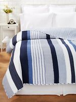 Nantucket Blue Twin Quilt Set : Nautical White Stripe Beach House Coastal