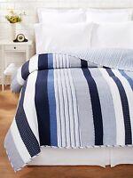Nantucket Blue Twin Quilt Set : Nautical White Stripe Beach House Coastal