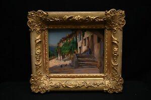 """Tableau post impressionniste """" sur le pas de porte"""""""