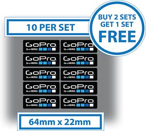 10-x-Go-Pro-Stickers-GoPro-Be-A-Hero-Decals-Waterproof-Vinyl-64mm-x-22mm