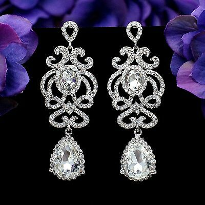 Rhodium Plated Clear Crystal  Rhinestone L Beauiful Chandelier Dangle Earrings