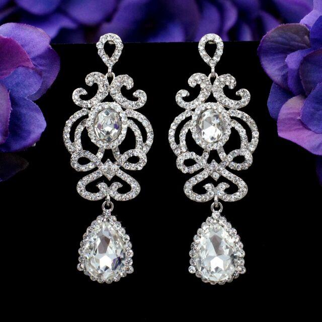Rhodium Plated Clear Crystal  Rhinestone L Beauiful Chandelier Dangle Earrings