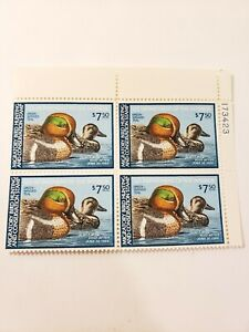 1979-US-Federal-Green-Winged-Teal-Duck-Hunting-Stamp-RW46-Plate-Block-of-4-VF-NH