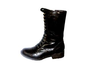 New-Authentic-G-By-Guess-Combat-Boots-Frollic-Black-Faux-Leathe-Lace-Up-Size-7-5