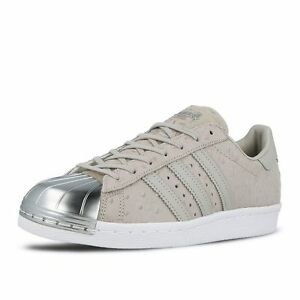 adidas Womens Superstar 80 s Metal Toe Clear Grey Leather Shoes ... b3d11e14f1