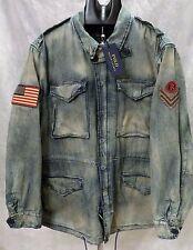 Polo Ralph Lauren Men's Military Field Jacket Coat Army Denim Lrg Patch Flag NWT