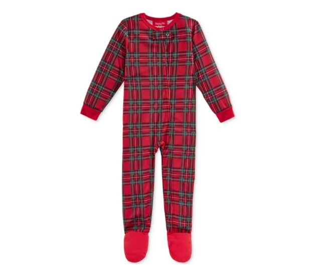 f824daffec Family PJs Christmas Baby Boy or Girl One-Piece Footed Pajama Red Brinkley  Plaid