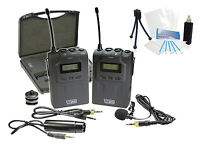 Pro Uhf Wireless Microphone System W/ Lavalier For Sony Handycam Fdr-ax33