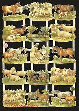 German Victorian Style Embossed Scrap Die Cut - Farm Animals Cow / Sheep  EF7295