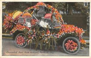 Decorated-Auto-Rose-Festival-Portland-Oregon-Parade-1921-Vintage-Postcard