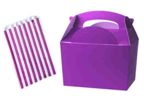 Purple Birthday Party Food Meal Lunch boxes With Free Candy Sweet Cake Bags