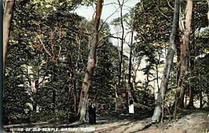 Ruins Of Old Temple Warley Woods Birmingham postcard colour printed antique