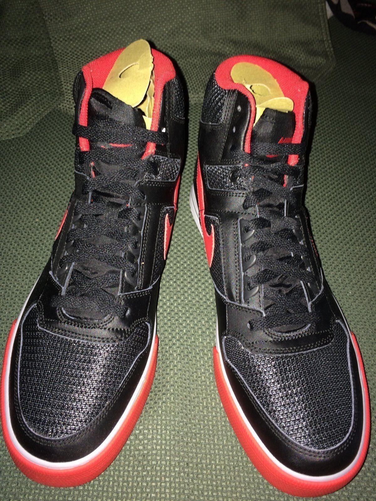 Seltene nike delta force force force hohe ac schwarz - rot - basketball - schuhe größe 11. jahrgang 833759