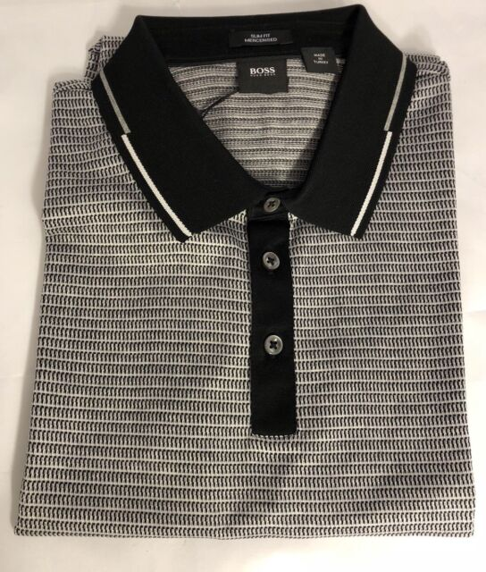 a634c5d0 NWT $165 BOSS Hugo Boss Pitton 4 Black Label Short Sleeve Slim Fit Polo  Shirt L