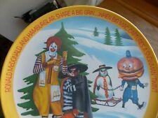 "McDonalds 1977 Vintage Plastic Plate HAMBURGLAR SNOWMAN TWIN Ronald McDonald 10"""