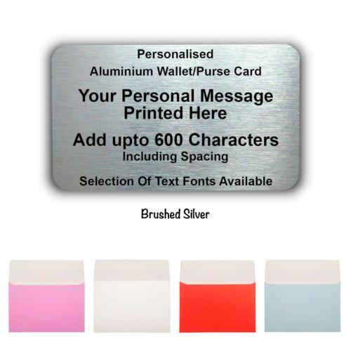 BOMBONIERA in Metallo Personalizzato-mini card-Portafoglio//Borsa-qualsiasi testo fino a 600 caratteri