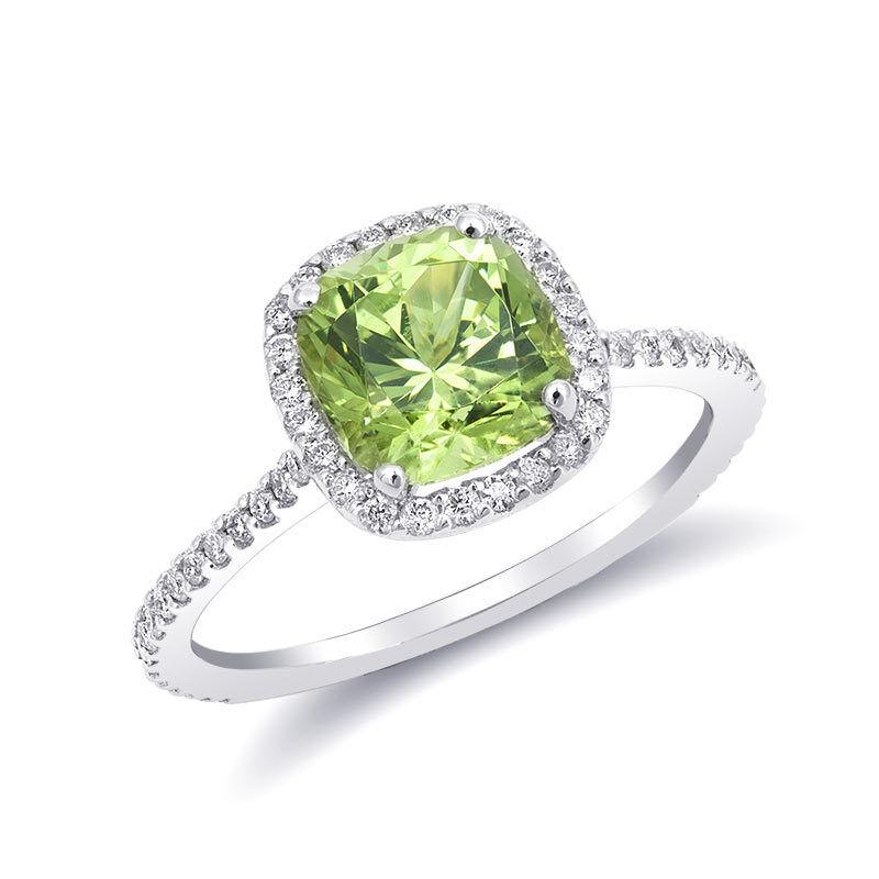 Natural  Grossular Garnet 1.93 carats set in 14K White gold Ring