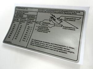 Mk1 Golf Caddy Brake Compensator Sticker 147010019A