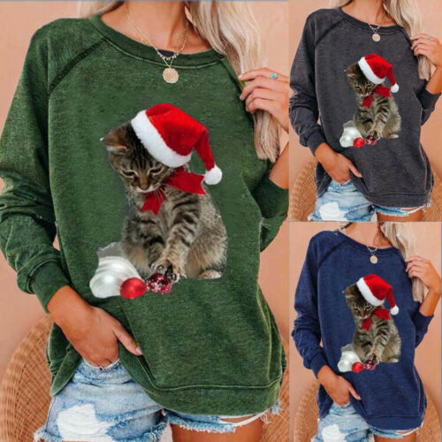 Womens Plus Size Novelty Cat Print T-shirt Tops Ladies Casual Loose Jumper Tops