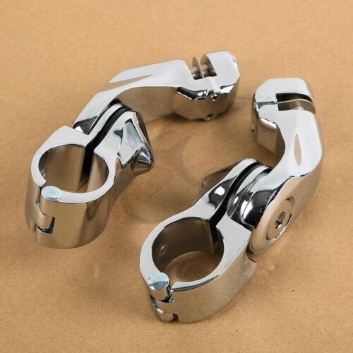 """1 1//4/"""" 32mm Chrome Highway Foot Pegs Footrest Clamps For Harley Engine Guard Bar"""