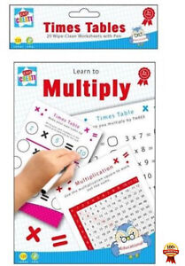 Learn-to-Multiply-Times-Tables-20-A5-Wipe-Clean-Worksheets-Pen-Educational