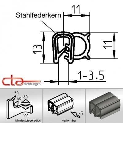 1 m Dichtungsprofil Dichtprofil Kantenschutz EPDM schwarz KB 1 - 3,5mm 1C11-06