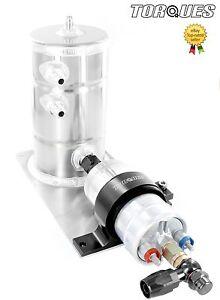 Bosch-044-Fuel-Pump-Swirl-Pot-Tank-Assembly-AN-6-Swivel-Seal-Banjo-Outlet-Black