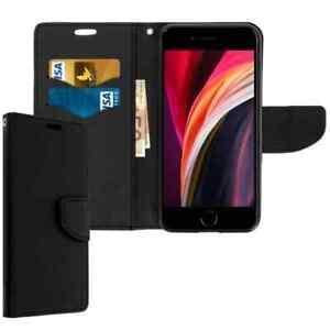 Coque Etui Housse Portefeuille pour iPhone SE 2020 -Noir